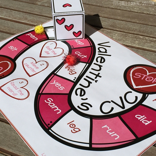 Get some reading done on Valentine's Day with this free CVC board game!