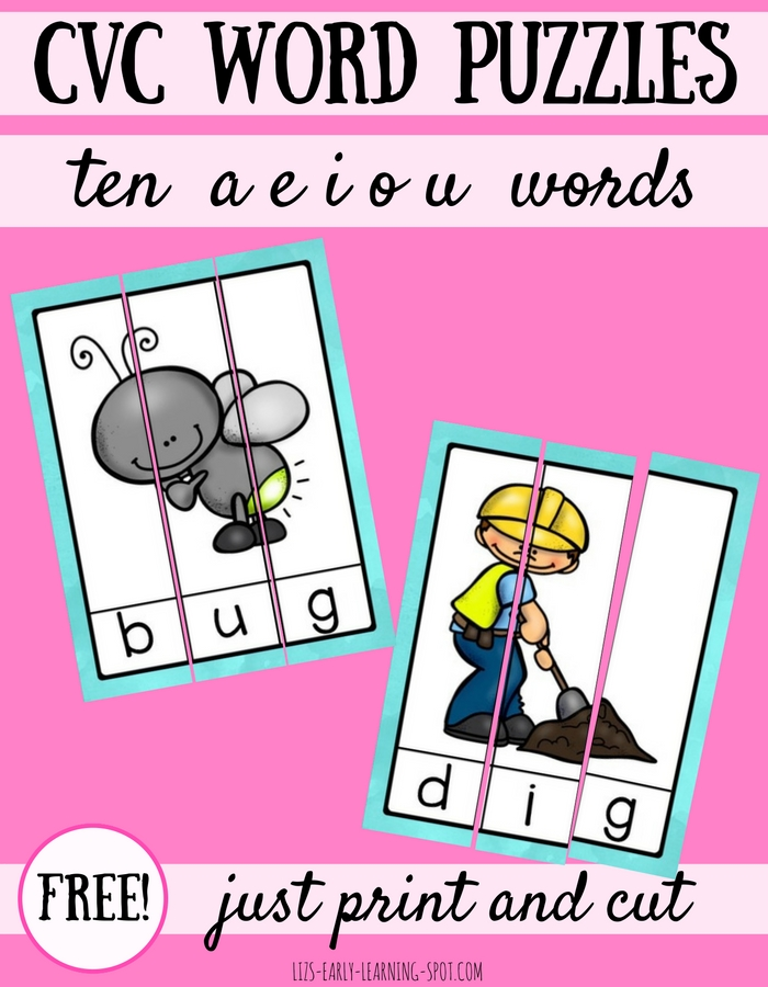 10 Free CVC Word Puzzles : Lizu0026#39;s Early Learning Spot