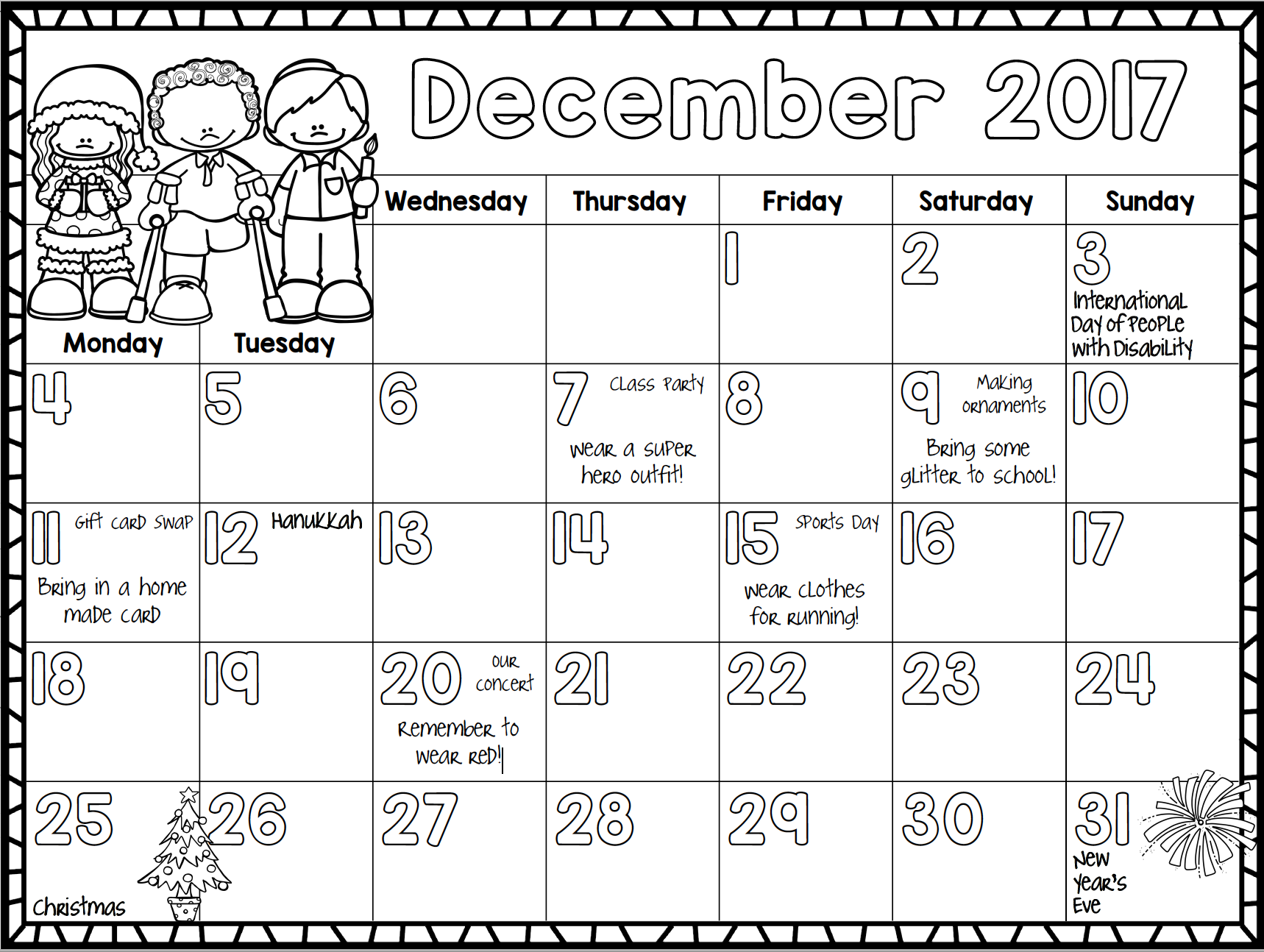 December Kids Calendar : Free  monthly calendar for kids liz s early