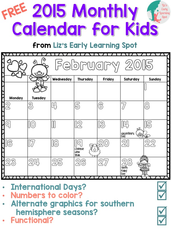 Calendar For Kids In Classroom : Free monthly calendar for kids liz s early learning