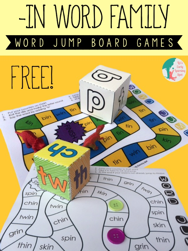 Word Family Dice and Board Games - Liz's Early Learning Spot