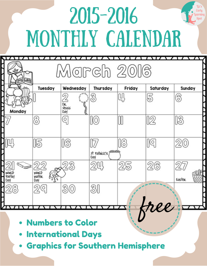June Calendar Numbers For Preschool : Free  monthly calendar for kids liz s early