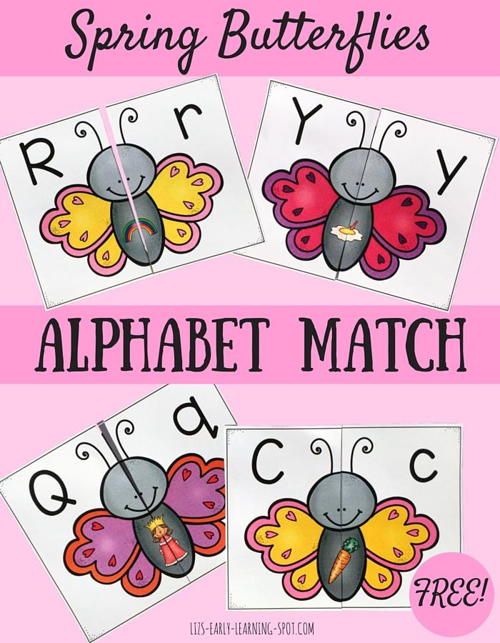 Spring Butterflies Alphabet Match on Spring Sensory Crafts