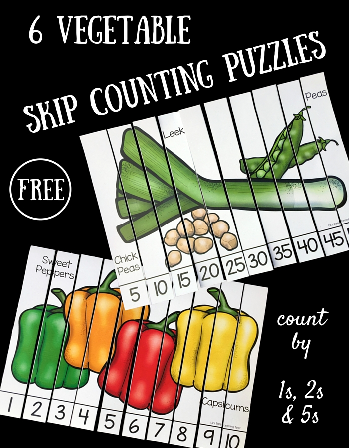 6 vegetable skip counting puzzles liz 39 s early learning spot. Black Bedroom Furniture Sets. Home Design Ideas