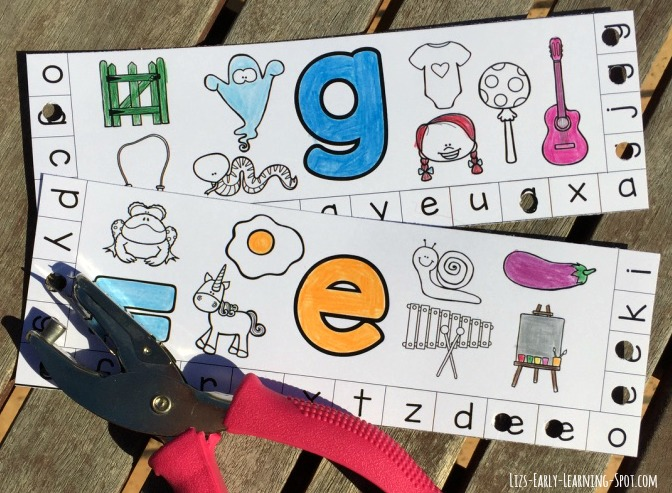Alphabet Punch Cards With Beginning Sounds Liz S Early