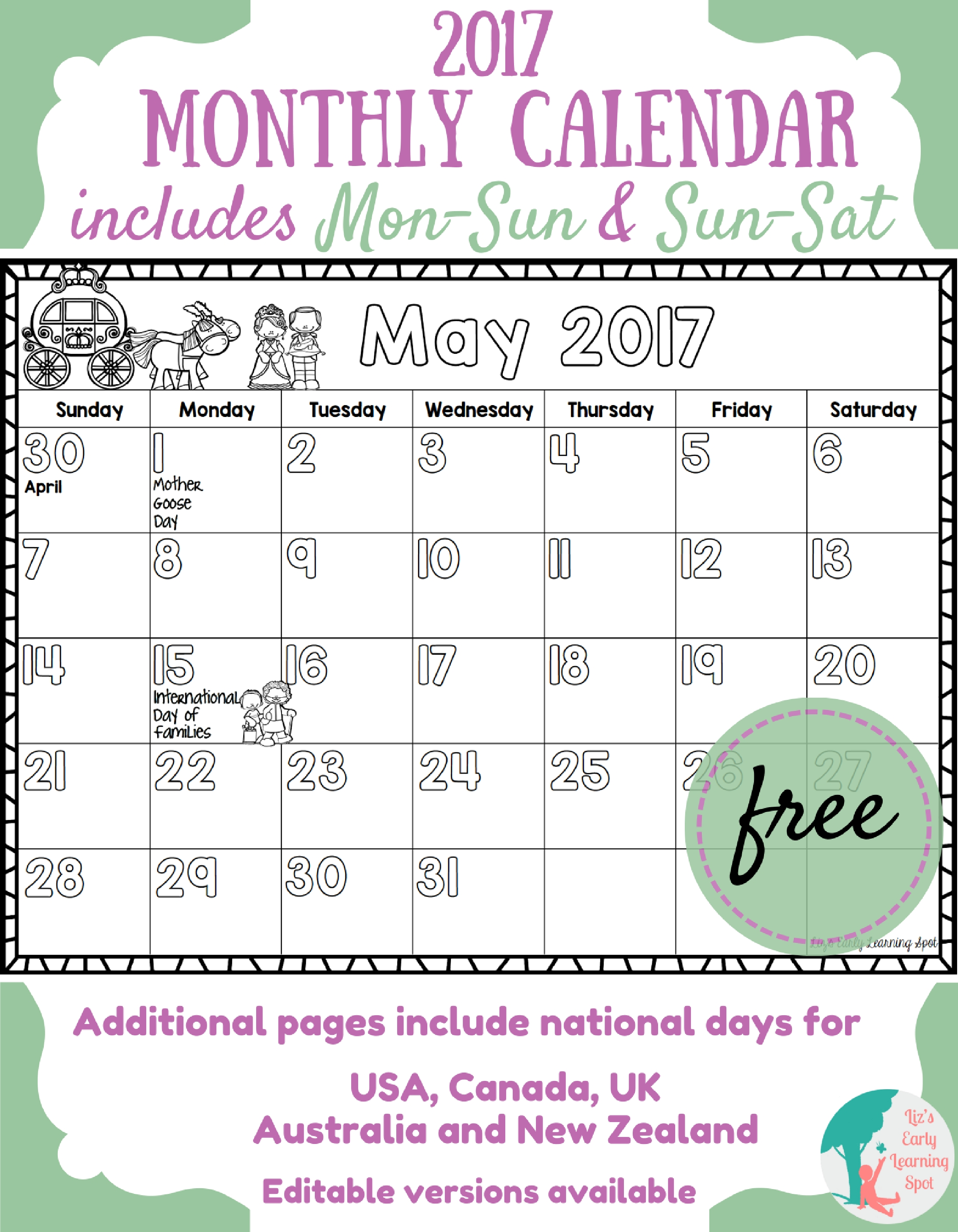 Calendar Monthly Ideas : Free monthly calendar for kids liz s early learning