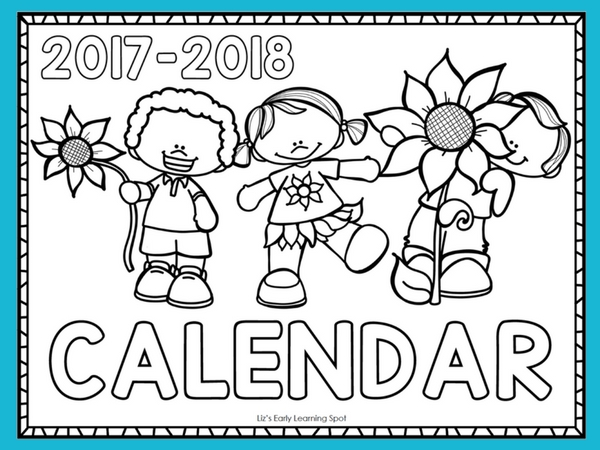 Free 2017-2018 Monthly Calendar for Kids | Liz\'s Early Learning Spot
