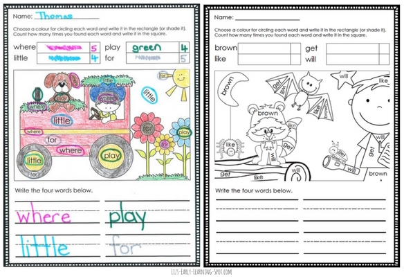 I Spy Sight Words Coloring Sheets