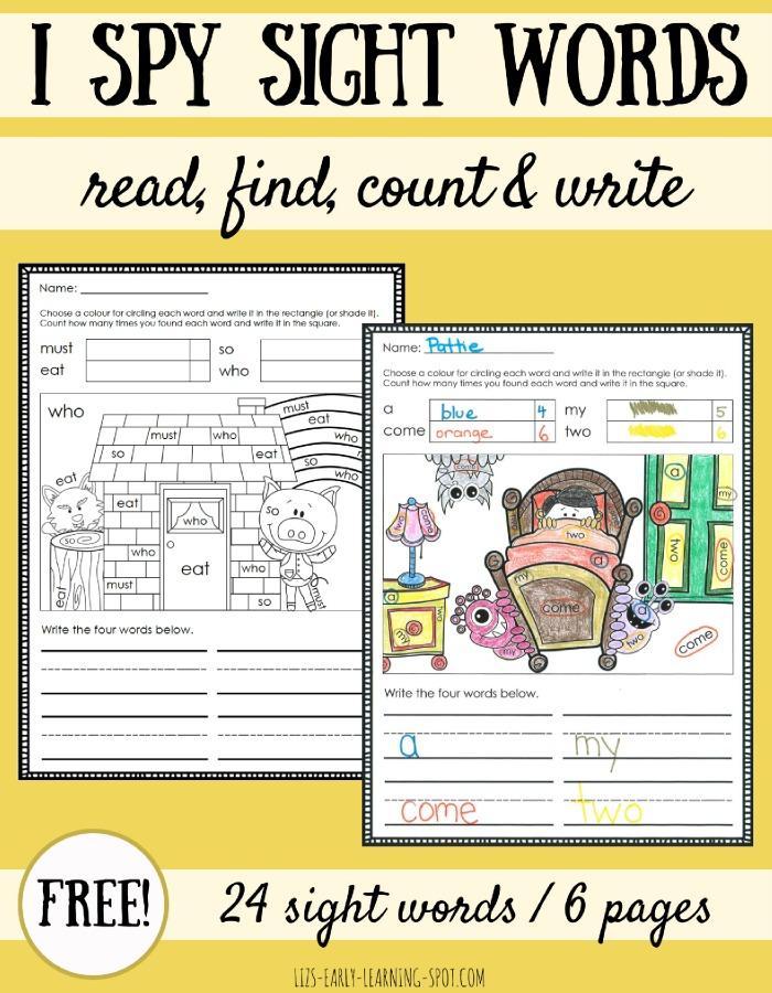 I Spy Sight Words Coloring Sheets Liz 39 s Early Learning Spot