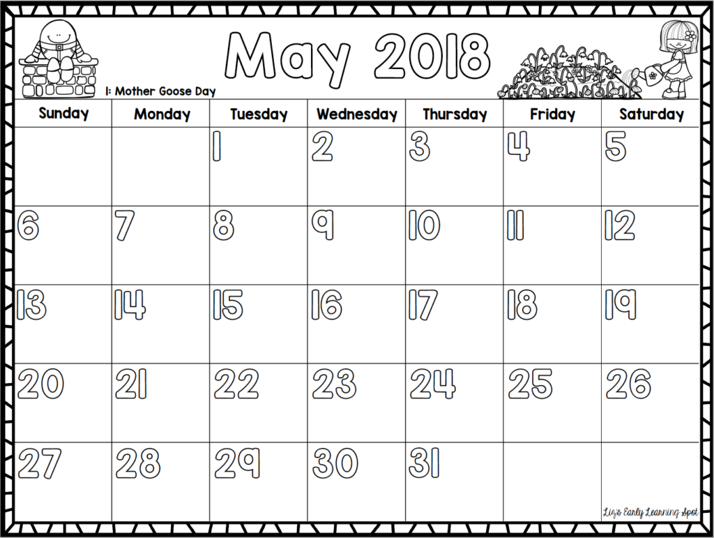 Kindergarten Calendar For Parents : Free monthly calendars for kids liz s early