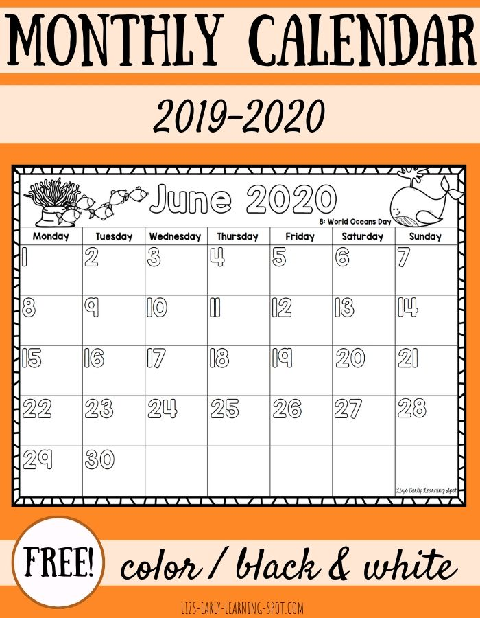 This is a picture of Gutsy Printable Monthly Calendars for 2020